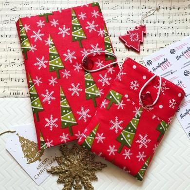 Коледен комплект с подвързия за книга и калъф за електронен четец Елхички