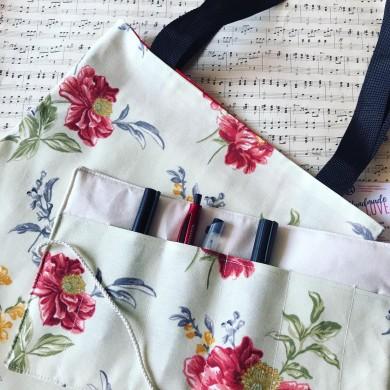 Комплект дамска чанта и органайзер Божури