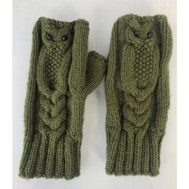 Дамски плетени ръкавици без пръсти в тъмно зелено