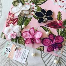 Ръчно изработен комплект подвързия за книга и брошка Орхидеи