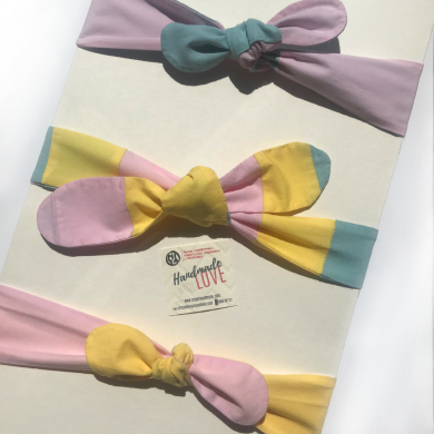 Лента за коса за момиче в розово, синьо или шарена