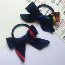 Черен ластик за коса с панделка и цветни акценти