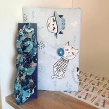 Комплект подвързия за книга сини Котки и лента за коса в синьо или с цветя