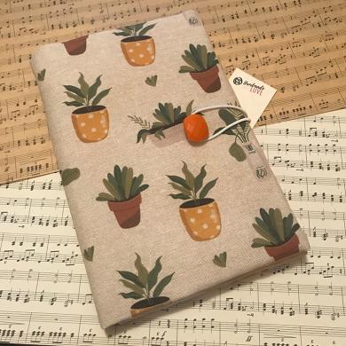 Текстилна подвързия за книга с испански плат с десен със саксии с цветя