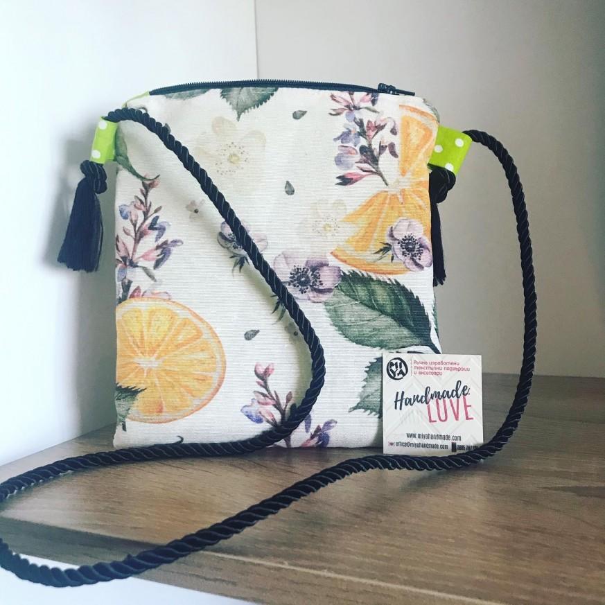 Чантичка със свеж десен Портокали за през рамо за госпожици