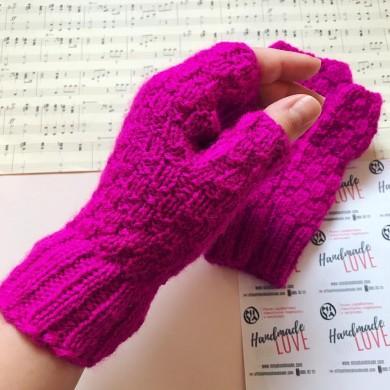 Дамски плетени ръкавици без пръсти в цикламено