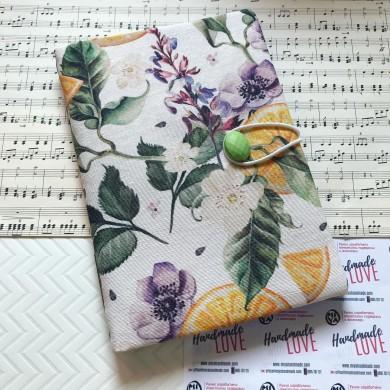 Текстилна подвързия за книга с испански плат с красив десен с цветя и портокали