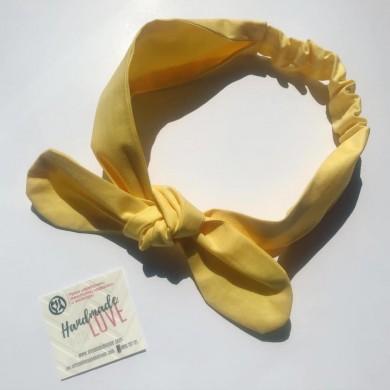 Жълта лента за коса с панделка