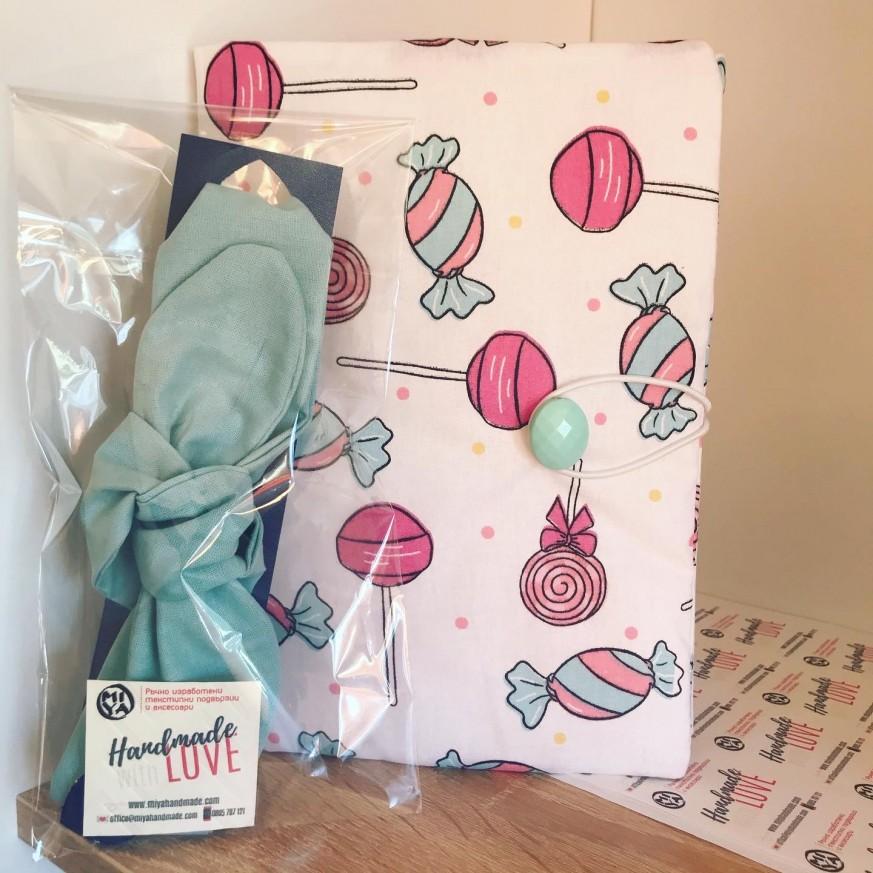 Комплект дреха за книга Бонбони и лента за коса в розово или синьо