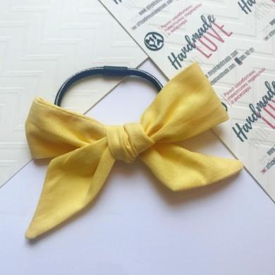Жълт ластик за коса с панделка
