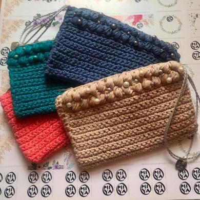 Плетена чанта клъч колекция Dreaming of the sea - едноцветна
