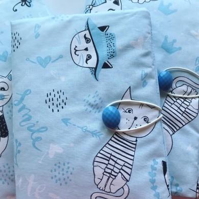 Текстилна подвързия за книга в синьо с котки