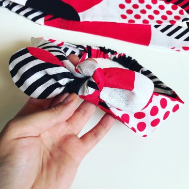 Лента за коса Монро в бяло, черно и червено