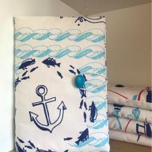 Текстилна подвързия за книга ръчна изработка с Морски мотиви