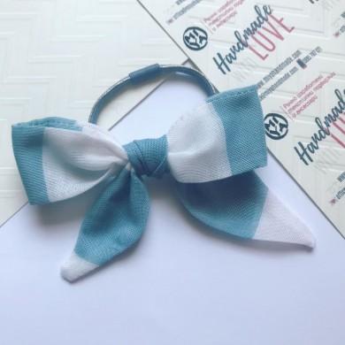 Ластик за коса Панделка в бяло и синьо