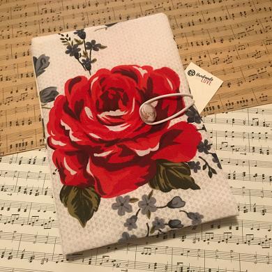 Ръчно изработена подвързия за книга с голяма червена роза