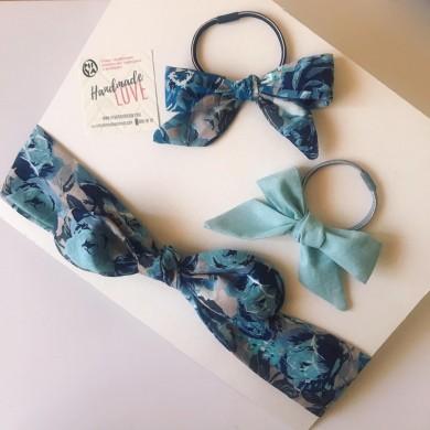 Комплект лента и ластик за коса Сини рози