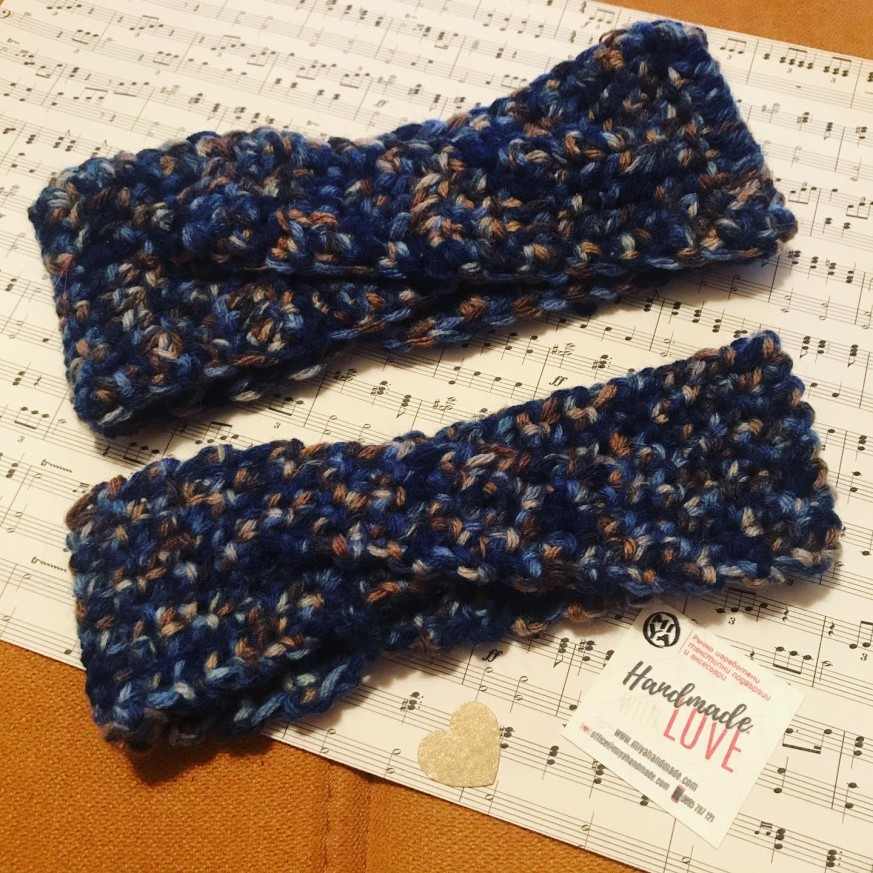 Плетена лента за коса Буря в тъмни цветове