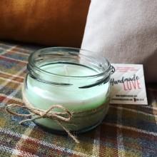 Натурална соева свещ 200мл с различни аромати в стъклен буркан с декорация