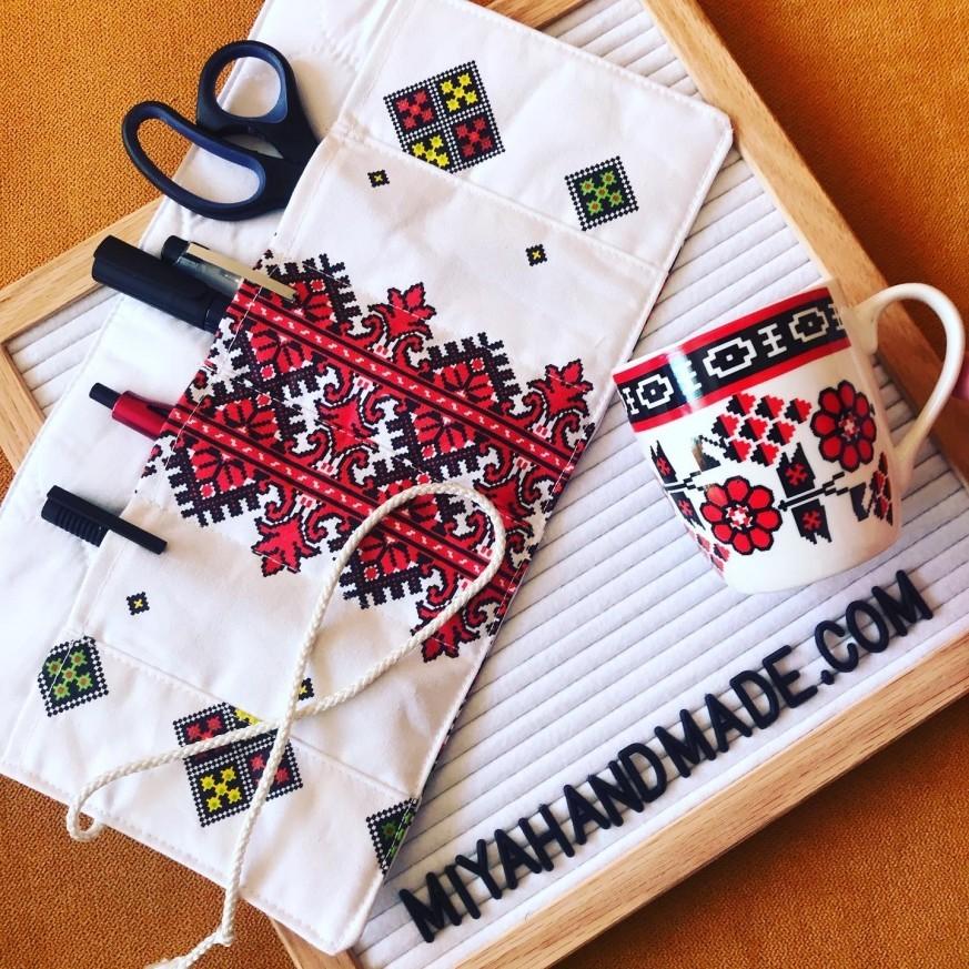 Комплект Шевици с текстилен органайзер и чаша