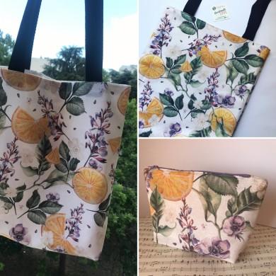 Комплект дамска чанта от текстил с дълги дръжки и джоб +  несесер 9 десена за избор