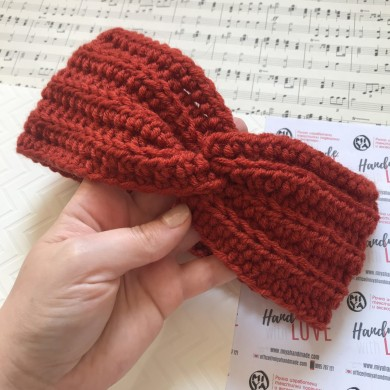 Преплетена лента за глава в керемидено червено