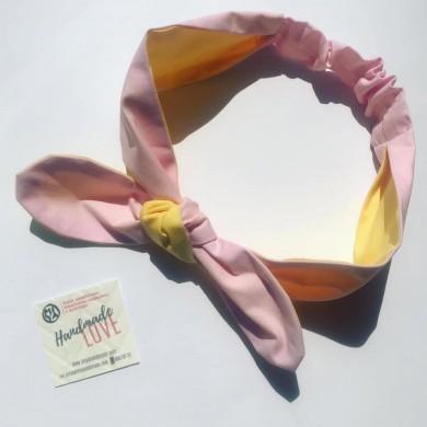 Лента за коса с две лица в розово и жълто