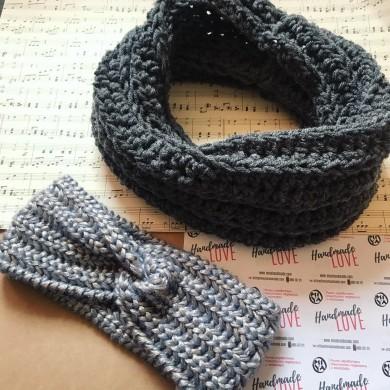 Комплект плетени аксесоари шал и лента в цвят по избор