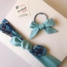 Коплект лента и ластик за коса Синя градина