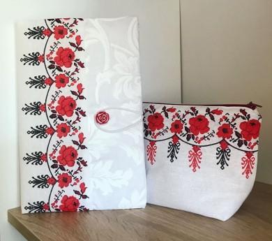 Комплект текстилна подвързия за книга и несесер с шевици