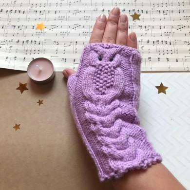Дамски плетени зимни ръкавици Бухалче в лилаво