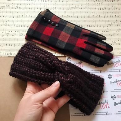 Комплект дамски зимни аксесоари с плетена лента за глава и ръкавици в цвят по избор