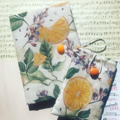 Комплект ръчно изработена подвързия за книга и калъф за четец със свеж десен с портокали