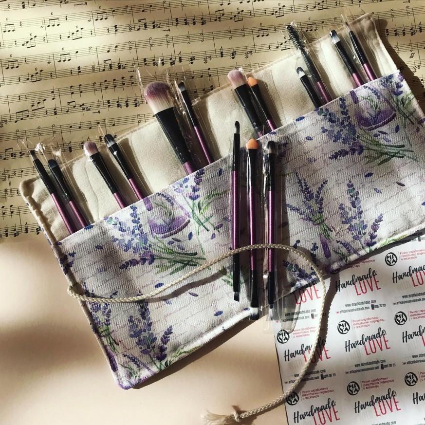 Комплект органайзер и сет четки за грим в лилаво Лавандула
