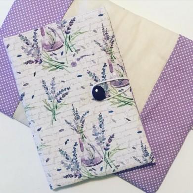 Текстилна подвързия за книга с испански плат с десен с лавандула