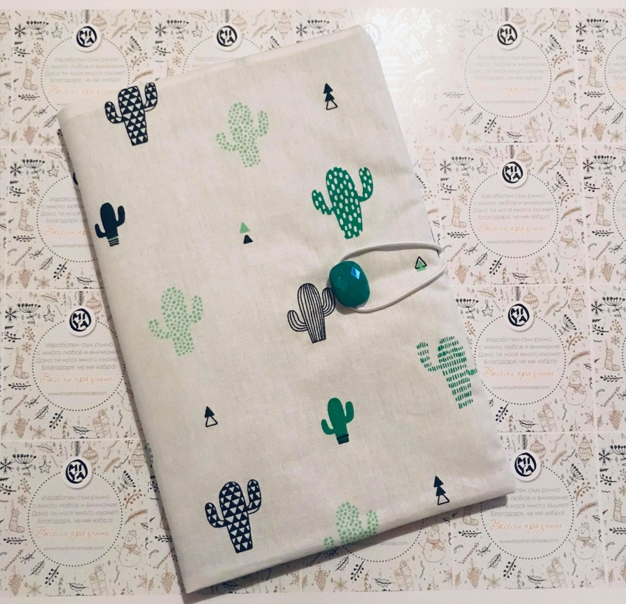 Текстилна подвързия за книга с десен с кактуси