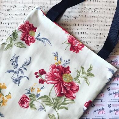 Дамска чанта tote bag Божури с два джоба