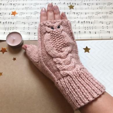 Дамски зимни плетени ръкавици без пръсти Бухалче в пепел от рози
