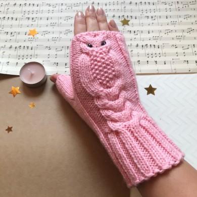 Дамски плетени ръкавици без пръсти Бухалче в розово