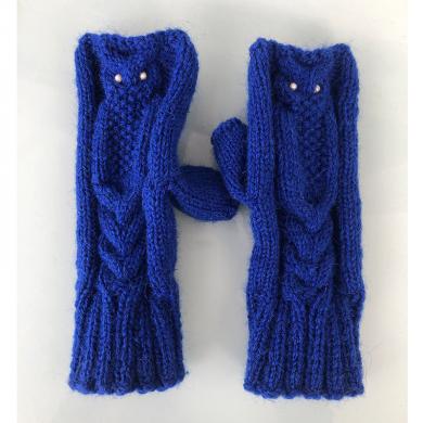 Плетени ръкавици Бухалче в синьо модел без пръсти