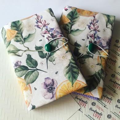 Текстилна подвързия за книга от испански плат с десен с портокали и цветя