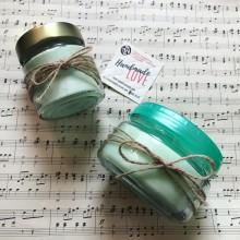 Комплект малка и голяма соева свещ в стъклени буркани с аромат по избор