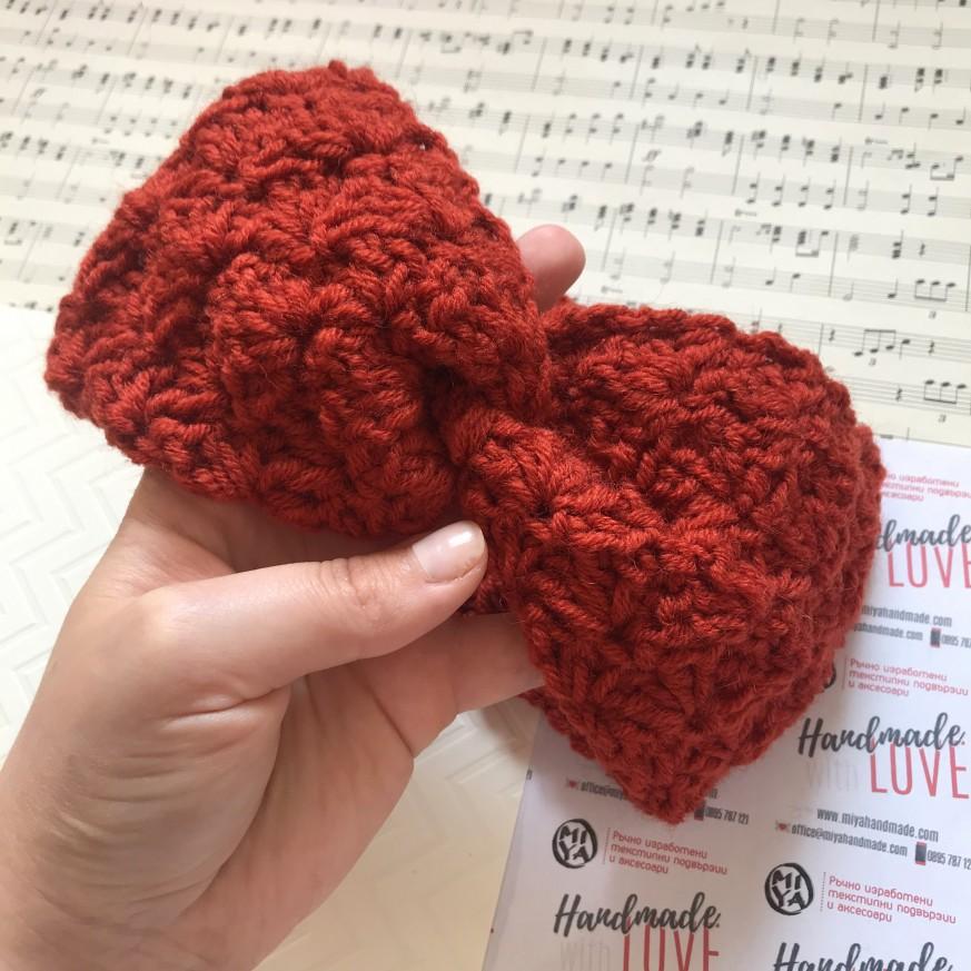 Преплетена лента Цвете в керемидено червено