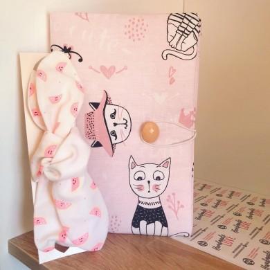 Коплект подвързия за книга Котки и лента за коса в розово