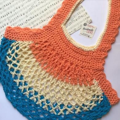 Дамска плетена чанта с три цвята