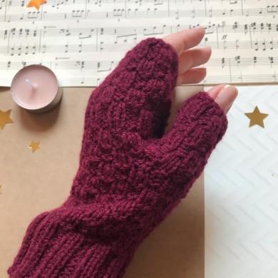 Плетени дамски ръкавици без пръсти Бордо