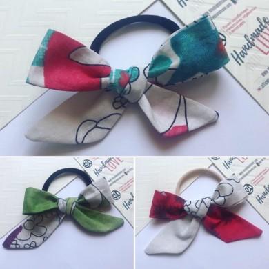 Шарен ластик за коса с панделка в различни цветове