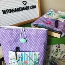 Висок калъф за книга в лилаво с джоб Кактуси
