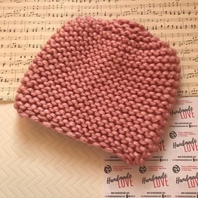 Дамска зимна шапка Розе с едра плетка в цвят пепел от рози с 25% вълна