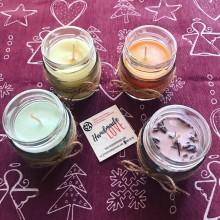 Натурална соева свещ 100мл в стъклен буркан с декорация и различни аромати